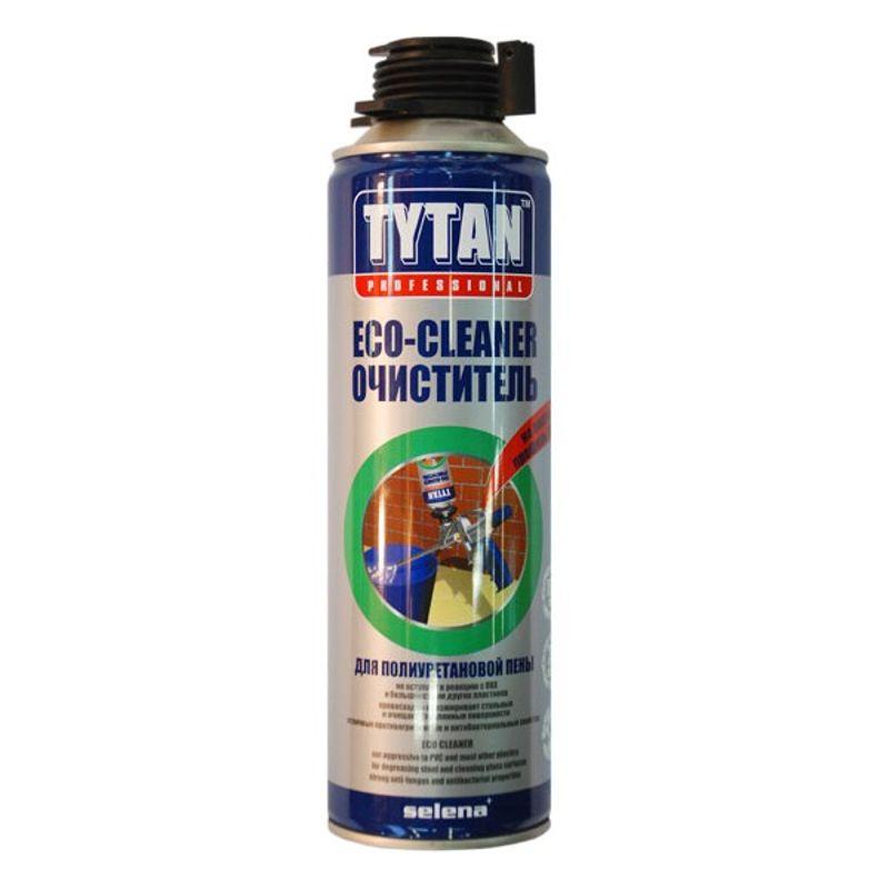 Очиститель пены Eco Tytan, 500 млОчиститель пены ECO Tytan, 500 мл<br><br>Средство для удаления монтажной пены, клея для строительных и ремонтных работ.<br><br>НАЗНАЧЕНИЕ:<br><br>Очистка, обезжиривание прочных (металл, стекло) поверхностей перед применением пены, герметика;<br><br>Очистка монтажного пистолета;<br><br>Удаление остатков пены.<br><br>ПРЕИМУЩЕСТВА:<br><br>Безопасность (не вредит озоновому слою);<br><br>Удобство в использовании (объём &amp;ndash; 500 мл.; компактные габариты тары (баллон); не оставляет следов на пластмассе).<br><br>РЕКОМЕНДАЦИИ:<br><br>Общие рекомендации:<br><br>Не рекомендуется работать в присутствии посторонних лиц, детей и животных;<br><br>При работе пользоваться средствами индивидуальной защиты (перчатки, респиратор, очки, каска, нескользящая обувь), спецовкой;<br><br>Положение тела должно быть устойчивым, в рабочей зоне не должно быть посторонних предметов, которые могут привести к потере равновесия.<br><br>Рекомендации по хранению:<br><br>Хранить в сухом помещении, без доступа для детей, животных, посторонних лиц;<br><br>Беречь от резкого перепада температур, нагревания от внешних источников тепла. При переходе из холодного помещения в тёплое, дать очистителю время принять температуру окружающей среды.<br>Бренд: Tytan; Объем: 500 мл; Область применения: Обезжиривание поверхностей перед нанесением герметиков, клеев; Область применения: Удаление незастывшей пены, герметика и очистка инструмента;