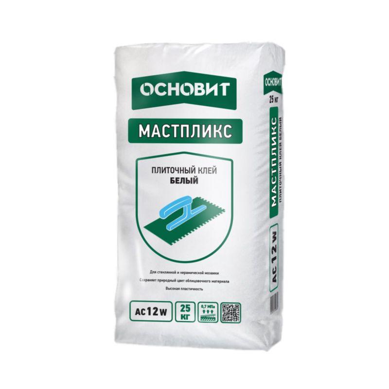 Клей плиточный Основит Мастпликс AC12 W белый, 25 кгКлей плиточный Основит Мастпликс AC12 W белый, 25 кг<br><br>Клей для керамической плитки, керамогранита и натурального камня.<br><br>НАЗНАЧЕНИЕ:<br><br>Для облицовки стен и полов стеклянной и керамической мозаикой,&amp;nbsp;керамической плиткой, керамогранитом и натуральным &amp;nbsp; камнем (вес до 600&amp;nbsp;г/100 см&amp;sup2;);<br>Рекомендуется для облицовки балконов, террас, полов с подогревом, цоколей, фасадов;<br>Для внутренних и наружных работ.<br><br>ПРЕИМУЩЕСТВА:<br><br>Высокая пластичность;<br>Низкий расход;<br>Хорошая адгезия;<br>Клей сохраняет свои свойства при попадании влаги и при воздействии&amp;nbsp;отрицательных температур.<br><br>ИНСТРУКЦИЯ ПО ПРИМЕНЕНИЮ:<br><br>Рекомендуемые основания:<br><br>Стандартные (бетонные, оштукатуренные, кирпичные) и сложные&amp;nbsp;недеформирующиеся основания (пенобетон и газобетон,<br><br>ГКЛ и ГВЛ, ЦСП).<br><br>Подготовка основания:<br><br>Перед нанесением клея необходимо удалить с поверхности пыль, масляные&amp;nbsp;пятна и другие загрязнения, препятствующие сцеплению материала с&amp;nbsp;поверхностью. Гладким и глянцевым поверхностям необходимо придать&amp;nbsp;шероховатость. Значительные неровности необходимо выровнять штукатурками&amp;nbsp;ОСНОВИТ (в зависимости от типа основания и условий эксплуатации).<br>Для усиления прочности сцепления материала с основанием поверхность&amp;nbsp;обработать соответствующим грунтом ОСНОВИТ. При необходимости нанести&amp;nbsp;грунтовку в несколько слоев. Основание готово к нанесению плиточного&amp;nbsp;клея только после полного высыхания грунта. Не допускать запыления&amp;nbsp;загрунтованных поверхностей.<br><br>Приготовление раствора:<br><br>Для приготовления раствора содержимое мешка при постоянном перемешивании&amp;nbsp;высыпать в ёмкость с чистой водой из расчёта 1 кг сухой смеси на 0,18-0,22 л чистой воды (на 1 мешок 25 кг &amp;ndash; 4,5-5,5 л воды) и перемешать до образования однородной массы. Перемешивание производитс