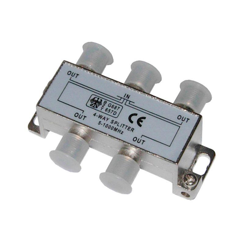 Краб на 4 ТВ под F разъем 5-1000 MHzКраб на 4 ТВ под F разъем 5-1000 MHz<br><br>Антенный разветвитель для присоединения кабелей типа RG-6 и других соосных кабелей с наружным диаметром примерно 6,8мм к телевизионному и видеооборудованию.<br><br>НАЗНАЧЕНИЕ:<br><br>Используется для подключения эфирного, спутникового и кабельного телевидения при помощи радиочастотного провода;<br><br>Применяется для присоединения соосного кабеля волновым сопротивлением 50 и 75 Ом к телевизионному и видеооборудованию;<br><br>Подходит&nbsp;для деления сигнала на четыре приемника.<br><br>ПРЕИМУЩЕСТВА:<br><br>Надежность (корпус разветвителя, разъемы выполнены из сплава меди с никелем);<br><br>Удобство в использовании (соединение без паяния контактов; для установки краба не нужны специальные инструменты; наличие разделителя &ndash; возможность деления сигнала на четыре приемника).<br><br>РЕКОМЕНДАЦИИ<br><br>При выборе антенного разветвителя обращайте внимание на параметр затухания в децибелах, выбирайте устройство с наименьшим показателем;<br><br>Перед началом работы выберите место и закрепите на нем переходник;<br><br>Надежно закрепите разветвитель на стене, не допуская свободного провисания изделия;<br><br>Снимите заглушку с каждого разъема переходника;<br><br>Для подключения входа в телевизор и гнездо пользуйтесь коаксиальным кабелем;<br><br>Подсоедините телевизионный кабель, находящийся в помещении.<br><br><br><br>&nbsp;<br>Страна производитель: Китай; Назначение: Разделение сигнала на несколько приемников; Тип: Ответвитель; Тип входного разъема: TV; Тип выходного разъема: TV; Маркировка разъемов: F; Количество выходов: 4; Количество входов: 1; Полоса пропускания: 5-1000 МГц;
