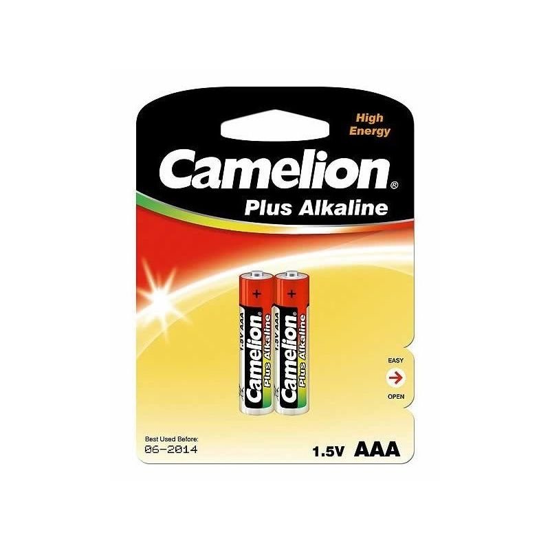 Элемент питания ААА LR03 (2шт) Camelion<br>Бренд: Camelion; Модель: Plus Alkaline; Вид батареек: Мизинчиковая; Тип батарейки: Алкалиновая; Типоразмер: ААА (LR-03); Емкость: 1250 мА·ч; Номинальное напряжение: 1,5 В; Количество в упаковке: 2 шт; Температура эксплуатации: -10 °C; Страна производитель: Китай;