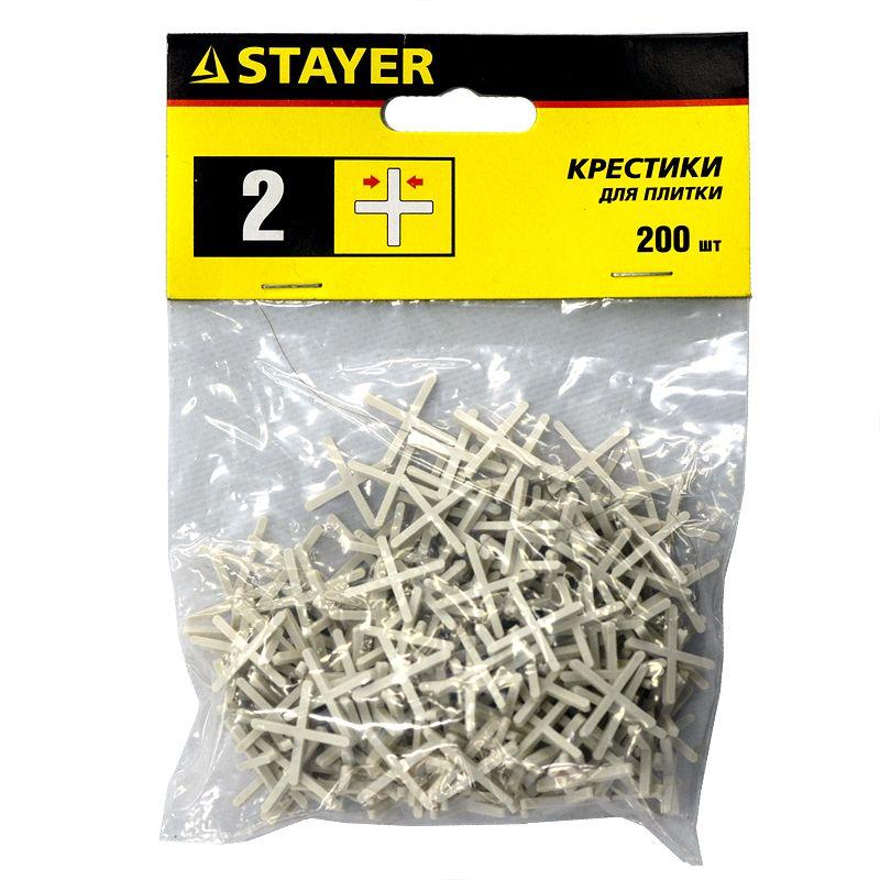 Крестики д/плитки 2,0 (200шт), STAYER<br>Бренд: Stayer; Материал: Пластик; Толщина: 2,0 мм; Количество: 200 шт/уп; Цвет: Белый;