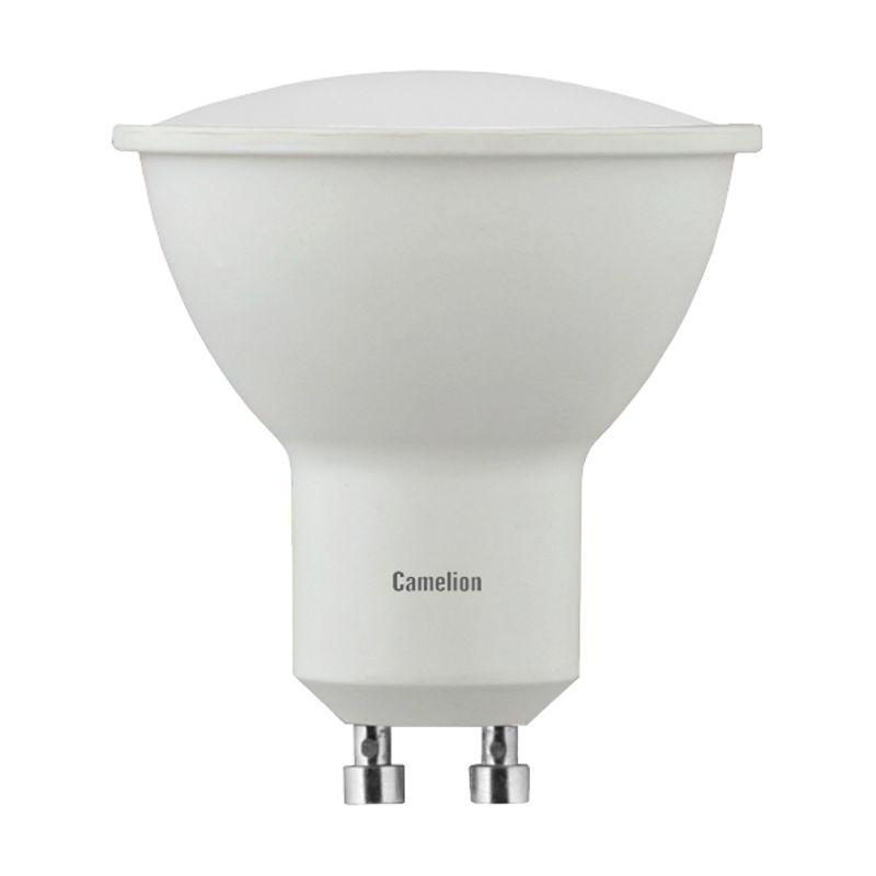 Лампа светодиодная 5Вт GU10 теплый свет CamelionЛампа светодиодная 5Вт GU10 Camelion (теплый свет)<br><br>Светодиодная лампа бытового назначения с цоколем GU10.<br><br>НАЗНАЧЕНИЕ:<br><br>Общее и декоративное освещение в люстрах, бра и точечных светильниках.<br><br>ПРЕИМУЩЕСТВА:<br><br>Минимальный коэффициент пульсации светодиодов гарантирует безопасность для зрения человека;<br><br>Не выделяет вредного для здоровья ультрафиолетового излучения;<br><br>Существенно экономит потребление электроэнергии;<br><br>Лампа практически не нагревается при свечении, что значительно расширяет сферу использования;<br><br>Устойчивость к резким перепадам напряжения;<br><br>Не требуется специальная утилизация, поскольку детали лампы не содержат ртуть и другие опасные вещества;<br><br>Отсутствие посторонних шумов во время работы;<br><br>Светодиоды моментально загораются (без задержек при включении);<br><br>Может использоваться в диапазоне температур от -30 до +40 градусов;<br><br>Срок службы светодиодов более 30000 часов.<br><br>РЕКОМЕНДАЦИИ:<br><br>Рекомендации по установке:<br><br>Перед монтажом убедитесь, что корпус и другие части лампы не повреждены. Использование поврежденных ламп запрещено;<br><br>Устанавливайте лампу в цоколь только при отключенном питании светильника.<br><br>Рекомендации по хранению:<br><br>Храните лампы в сухом отапливаемом помещении, вдали от нагревательных приборов (на расстоянии не менее одного метра).<br><br>Рекомендации по уходу:<br><br>Не используйте для удаления загрязнений абразивные чистящие средства.<br><br>МЕРЫ ПРЕДОСТОРОЖНОСТИ:<br><br>Регулярно проверяйте целостность соединений и электрической проводки.<br>Гарантия: 2 года; Страна производитель: Китай; Бренд: Camelion; Назначение: Для точечных светильников; Типоразмер цоколя: GU10; Длина: 54 мм; Диаметр: 57 мм; Форма лампы: Параболический рефлектор; Цвет лампы: Белая; Цвет свечения: Теплый; Номинальное напряжение: 220 В; Потребляемая мощность: 5 Вт; Световой поток: 405 Лм; Цветовая температура: 3000