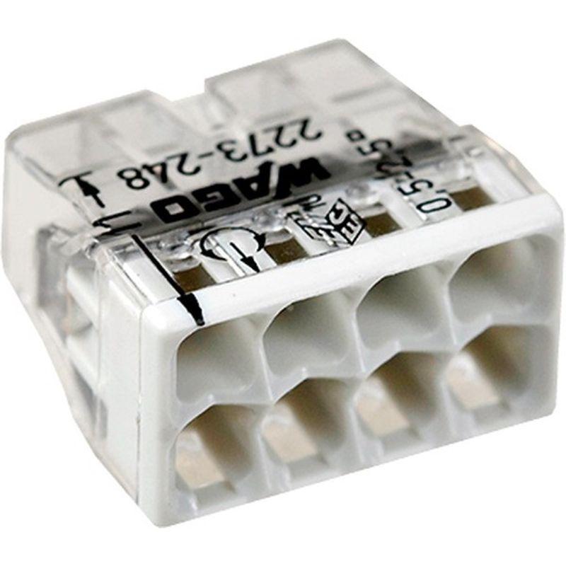 Клемма 8х(0.5-2.5мм) для распред. короб. (с контактн. пастой Alu-Plus) WAGO 2273-248Клемма WAGO 2273-248&amp;nbsp;8х&amp;nbsp;(0.5-2.5)<br><br>Восьмизажимный&amp;nbsp;безвинтовой&amp;nbsp;клеммник&amp;nbsp;высокой производительности для электрических соединений профессионального и бытового применения.<br><br>НАЗНАЧЕНИЕ:<br><br>Монтаж и подключение электрических проводников.<br><br>ПРЕИМУЩЕСТВА:<br><br>Высокая производительность (напряжение 400 В);<br>Долговечность (материал &amp;ndash; жаростойкая морозостойкая устойчивая к коррозии пластмасса; защита от воды и пыли);<br>Универсальность (возможно применять вместе с распределительной коробкой для соединения медных, алюминиевых одножильных проводов);<br>Безопасность (защита от выпадения; контактная паста);<br>Удобство в использовании (компактные габариты; восемь зажимов в комплекте).<br>Страна производитель: Китай; Бренд: WAGO; Назначение: Для распределительных коробок; Назначение: Для соединения проводов; Тип зажима: Плоско-пружинный зажим; Артикул: 2273-248; Количество зажимов: 8; Сечение провода: 0,5-2,5 мм?; Номинальный ток: 24 А; Номинальное напряжение: 450 В; Наличие пасты: Да; Материал корпуса: Самозатухающий пластик; Температура эксплуатации: До 105 °C; Высота: 5,8 мм; Ширина: 22 мм; Длина: 16,7 мм; Количество в упаковке: 50 шт;