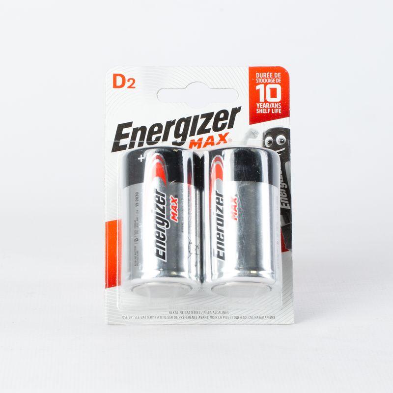 Элемент питания LR-20 Energizer (2 шт)<br>Бренд: Energizer; Модель: MAX; Вид батареек: Цилиндрическая; Тип батарейки: Алкалиновая; Типоразмер: Lr-20; Емкость: 245 мА·ч; Номинальное напряжение: 1,5 В; Количество в упаковке: 2 шт; Температура эксплуатации: -30-+50 °C; Страна производитель: Сингапур;