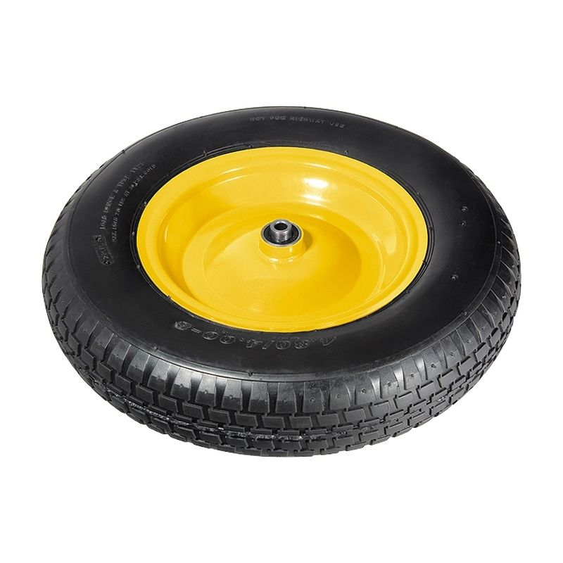 Колесо для одноколесной тачки пневматическое D380Диаметр оси для колес 12мм<br>Бренд: Palisad; Тип: Колесо; Нагрузка: 200 кг; Масса: 2200 г; Количество в упаковке: 2 шт.; Способ крепления колеса: На подшипнике; Материал колеса: Полиуретан; Материал камеры: Резина; Материал диска колеса: Металл; Ширина: 90 мм; Внешний диаметр: 380 мм; Внутренний диаметр: 20 мм; Наличие камеры в колесе: Да;
