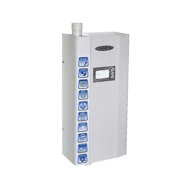 Котел электрический ZOTA SMART 6Электрический&amp;nbsp;котел&amp;nbsp;отопления&amp;nbsp;ZOTA&amp;nbsp;SMART&amp;nbsp;6&amp;nbsp;кВт&amp;nbsp;(2-4-6&amp;nbsp;кВт/220&amp;nbsp;В)<br><br>Настенный&amp;nbsp;электрический&amp;nbsp;отопительный&amp;nbsp;котел&amp;nbsp;номинальной&amp;nbsp;тепловой&amp;nbsp;мощностью&amp;nbsp;2,0-6,0&amp;nbsp;кВт,&amp;nbsp;со&amp;nbsp;встроенным&amp;nbsp;модулем&amp;nbsp;GSM,&amp;nbsp;<br><br>портом&amp;nbsp;подключения&amp;nbsp;интернета,&amp;nbsp;блоком&amp;nbsp;управления,&amp;nbsp;погодозависимой&amp;nbsp;автоматикой,&amp;nbsp;двумя&amp;nbsp;датчиками&amp;nbsp;температуры&amp;nbsp;воздуха,&amp;nbsp;<br><br>датчиками&amp;nbsp;температуры&amp;nbsp;и&amp;nbsp;уровня&amp;nbsp;воды,&amp;nbsp;датчиком&amp;nbsp;перегрева,&amp;nbsp;двумя&amp;nbsp;предохранителями,&amp;nbsp;открывающимся&amp;nbsp;защитным&amp;nbsp;кожухом,&amp;nbsp;<br><br>кронштейном&amp;nbsp;и&amp;nbsp;шурупами&amp;nbsp;для&amp;nbsp;крепления,&amp;nbsp;для&amp;nbsp;использования&amp;nbsp;в&amp;nbsp;автономных&amp;nbsp;системах&amp;nbsp;отопления&amp;nbsp;или&amp;nbsp;горячего&amp;nbsp;водоснабжения&amp;nbsp;<br><br>с&amp;nbsp;давлением&amp;nbsp;не&amp;nbsp;более&amp;nbsp;0,6&amp;nbsp;МПа&amp;nbsp;в&amp;nbsp;жилых&amp;nbsp;и&amp;nbsp;хозяйственно-бытовых&amp;nbsp;помещениях&amp;nbsp;площадью&amp;nbsp;до&amp;nbsp;60&amp;nbsp;кв.м.<br><br>НАЗНАЧЕНИЕ:<br><br>Автономное&amp;nbsp;теплоснабжение&amp;nbsp;жилых&amp;nbsp;и&amp;nbsp;хозяйственно-бытовых&amp;nbsp;помещений&amp;nbsp;площадью&amp;nbsp;до&amp;nbsp;60&amp;nbsp;кв.&amp;nbsp;м.;<br>Горячее&amp;nbsp;водоснабжение&amp;nbsp;(при&amp;nbsp;подключении&amp;nbsp;дополнительного&amp;nbsp;насоса&amp;nbsp;и&amp;nbsp;трехходового&amp;nbsp;клапана);<br>Нагрев&amp;nbsp;воды&amp;nbsp;для&amp;nbsp;технических&amp;nbsp;целей&amp;nbsp;(в&amp;nbsp;системах&amp;nbsp;водных&amp;nbsp;подогреваемых&amp;nbsp;полов);<br>Возможность&amp;nbsp;использовать&amp;nbsp;в&amp;nbsp;каскадном&amp;nbsp;подключении&amp;nbsp;нескольких&amp;nbsp;котлов.<br><br>П