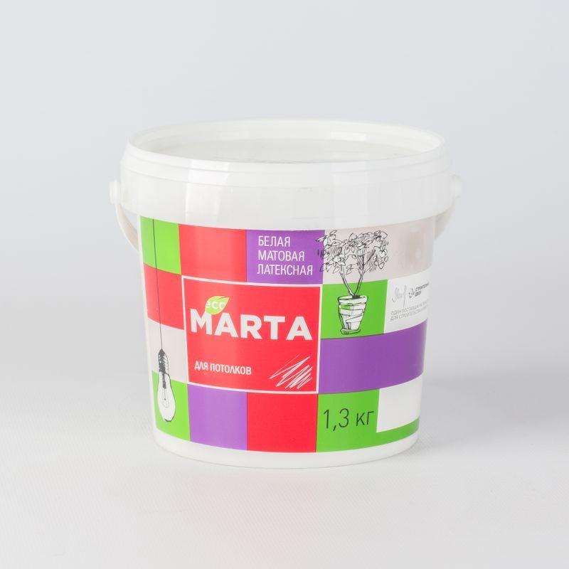Краска для потолков MARTA ECO, белая, 1,3кгКраска&amp;nbsp;Марта&amp;nbsp;для&amp;nbsp;потолков&amp;nbsp;супербелая&amp;nbsp;1,3кг<br><br>Краска&amp;nbsp;латексная&amp;nbsp;водно-дисперсионная&amp;nbsp;матовая,&amp;nbsp;используемая&amp;nbsp;для&amp;nbsp;окрашивания&amp;nbsp;потолков&amp;nbsp;внутри&amp;nbsp;сухих&amp;nbsp;помещений.<br><br>НАЗНАЧЕНИЕ:<br><br>Белая&amp;nbsp;краска&amp;nbsp;Марта&amp;nbsp;для&amp;nbsp;потолков&amp;nbsp;применяется&amp;nbsp;в&amp;nbsp;сухих&amp;nbsp;помещениях&amp;nbsp;таких&amp;nbsp;как&amp;nbsp;гостиные&amp;nbsp;и&amp;nbsp;спальни&amp;nbsp;в&amp;nbsp;жилых&amp;nbsp;домах,&amp;nbsp;<br><br>в&amp;nbsp;общественных&amp;nbsp;детских&amp;nbsp;и&amp;nbsp;медицинских&amp;nbsp;учреждениях.&amp;nbsp;Краску&amp;nbsp;наносят&amp;nbsp;на&amp;nbsp;потолки&amp;nbsp;по&amp;nbsp;следующим&amp;nbsp;основаниям:<br>На&amp;nbsp;потолки,&amp;nbsp;оклеенные&amp;nbsp;структурными&amp;nbsp;и&amp;nbsp;стеклообоями;<br>На&amp;nbsp;оштукатуренные,&amp;nbsp;зашпаклеванные&amp;nbsp;бетонные&amp;nbsp;и&amp;nbsp;кирпичные&amp;nbsp;потолки;<br>На&amp;nbsp;подготовленные&amp;nbsp;потолки&amp;nbsp;из&amp;nbsp;гипсокартона.<br><br>ПРЕИМУЩЕСТВА:<br><br>Эстетичная&amp;nbsp;(краска&amp;nbsp;не&amp;nbsp;оставляет&amp;nbsp;потеки&amp;nbsp;и&amp;nbsp;брызги,&amp;nbsp;обеспечивает&amp;nbsp;качественное&amp;nbsp;равномерное&amp;nbsp;окрашивание);<br>Высокое&amp;nbsp;содержания&amp;nbsp;белого&amp;nbsp;пигмента&amp;nbsp;в&amp;nbsp;составе&amp;nbsp;продукта&amp;nbsp;создает&amp;nbsp;эффект&amp;nbsp;белоснежной&amp;nbsp;шелковистой&amp;nbsp;поверхности;<br>Матовая&amp;nbsp;структура&amp;nbsp;краски&amp;nbsp;маскирует&amp;nbsp;мелкие&amp;nbsp;погрешности&amp;nbsp;поверхности&amp;nbsp;потолка;<br>Латексная&amp;nbsp;пленка,&amp;nbsp;образующаяся&amp;nbsp;после&amp;nbsp;высыхания,&amp;nbsp;позволяет&amp;nbsp;проводить&amp;nbsp;легкую&amp;nbsp;сухую&amp;nbsp;уборку;<br>Высокая&amp;nbsp;адгезия&amp;nbsp;с&amp;nbsp;любой&amp;nbsp;поверхностью&amp;nbsp;(бетон,&amp;nbsp;дерево,&amp;nbsp