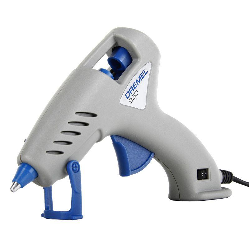 Пистолет клеевой DREMEL 930 HOBBYПистолет клеевой Dremel 930 Hobby<br><br>Клеевой пистолет с двойным температурным режимом для мелких бытовых и творческих работ.<br><br>НАЗНАЧЕНИЕ:<br><br>Используется для быстрого склеивания материалов горячим расплавленным клеем;<br><br>Предназначен для работ в помещении.<br><br>ПРЕИМУЩЕСТВА:<br><br>Производительность (быстрое нагревание &amp;ndash; 5минут; высокая точность нанесения; электронное регулирование температуры);<br><br>Безопасность (кожухи сопла выполнены из кремния, что защищает от возгорания пистолета при высоких температурах);<br><br>Универсальность (два режима работы - возможность использования различные клеевые стержни, как низкотемпературные (1050С), так и высокотемпературные (1650С и выше); в комплекте 18 стрежней, диаметром 7мм &amp;ndash; 3 низкотемпературных; 3 высокотемпературных; 12 цветных);<br><br>Удобство в использовании (легкий вес -0,2кг; форма носика пистолета исключает подтекание клея; наличие выдвижной подставки; эргономичная подставка &amp;ndash; для удобного захвата инструмента при выполнении работ).<br><br>РЕКОМЕНДАЦИИ:<br><br>Перед началом работ необходимо, чтобы склеиваемые поверхности были чистые, сухие и обезжиренные;<br><br>Гладким поверхностям следует придать шероховатость;<br><br>Для лучшего сцепления, быстро остывающие материалы рекомендуется предварительно подогреть;<br><br>Не меняйте насадки при включенном пистолете или когда он не до конца остыл;<br><br>Не обрабатывайте материалы с содержанием асбеста;<br><br>Температура применения от +50С до +500С;<br><br>Перед тем, как убрать инструмент на хранение, дайте ему полностью остыть;<br><br>Храните пистолет в сухом месте, недоступном для детей.<br>