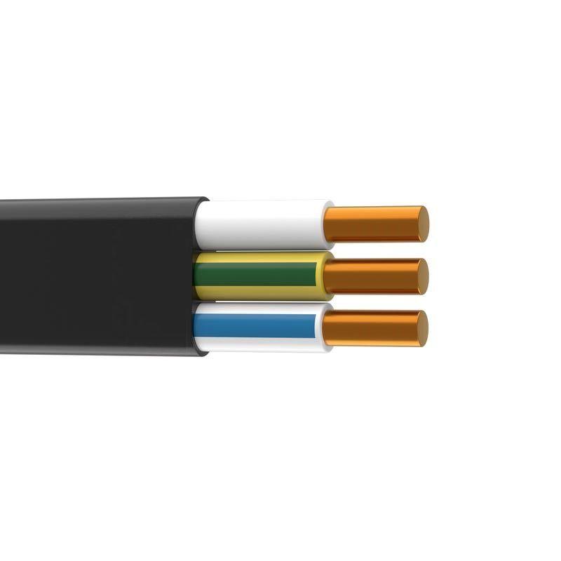 Кабель ВВГпнг 3х2,5 ГОСТ (бухта, отрез)Кабель ВВГ пнг 3х2,5 (бухта, отрез), ГОСТ, Альфакабель<br><br>Кабель (с маркировкой ВВГ-Пнг (А), трехжильный, с фазой заземления, сечение - 2,5мм2) для прокладки скрытой, наружной и воздушной электропроводки.<br><br>НАЗНАЧЕНИЕ:<br><br>Снабжение электроприборов, электроустановок током;<br><br>Подача электричества в жилых, офисных, производственных и промышленных помещениях.<br><br>ПРЕИМУЩЕСТВА:<br><br>Обеспечение качественной передачи электроэнергии. Сила тока при &amp;laquo;открытом&amp;raquo; типе проводки &amp;ndash; 30А, при &amp;laquo;закрытом&amp;raquo; - 21А, мощность (220В/380В) &amp;ndash; 6,6кВт/11кВт и 4,6кВт/7,9кВт, соответственно. Медные жилы изолированы оболочкой из ПВХ, что позволяет снизить активное и реактивное сопротивление;<br><br>Гибкость и прочность внешней изоляции. ПВХ-пластикат дает возможность обезопасить эл.сеть от коротких замыканий (вследствие случайных, непреднамеренных механических повреждений провода), повышает устойчивость к механическим вибрациям, делает монтаж более удобным;<br><br>Устойчивость к влаге. Кабель ВВГ допустимо использовать в санузлах, ванных комнатах, душевых кабинах, кухнях, с показателями влажности до 98%;<br><br>Негорючесть и термостойкость. Данный тип кабеля, возможно, применять в помещениях с повышенной пожароопасностью. Эксплуатационный режим &amp;ndash; от -50&amp;deg;С до 50&amp;deg;С;<br><br>Длительный срок службы. Не менее 30 лет, согласно заявлению Производителя.<br><br>РЕКОМЕНДАЦИИ: <br><br>Рекомендации по хранению и транспортировке:<br><br>При перевозке и хранении избегать от механических повреждений.<br><br>Рекомендации по кроссеровке кабеля и его монтажу:<br><br>Выполнение электромонтажных работ необходимо производить в соответствии с планом и проектом электропроводки объекта (квартиры, частного домовладения, нежилого помещения), нормативных документов пожарной безопасности, инструкциями ПУЭ/ПТЭ электроустановок;<br><br>Для соединения кабелей и проводов в единую сист