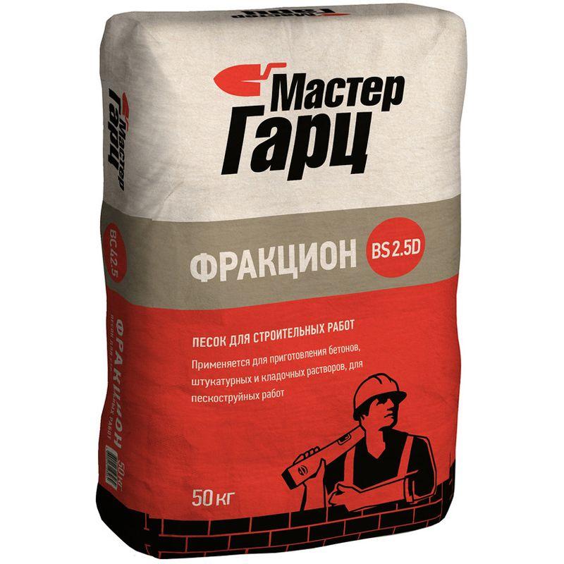 Песок сухой Мастер Гарц Фракцион BS2.5 D 50 кгДля изготовления бетонов, штукатурных и кладочных растворов, для<br>пескоструйных работ. Фракция: 0-2,4 мм.<br><br>Фракция: 0-2,4 мм; Фасовка: 50 кг; Бренд: Мастер Гарц;
