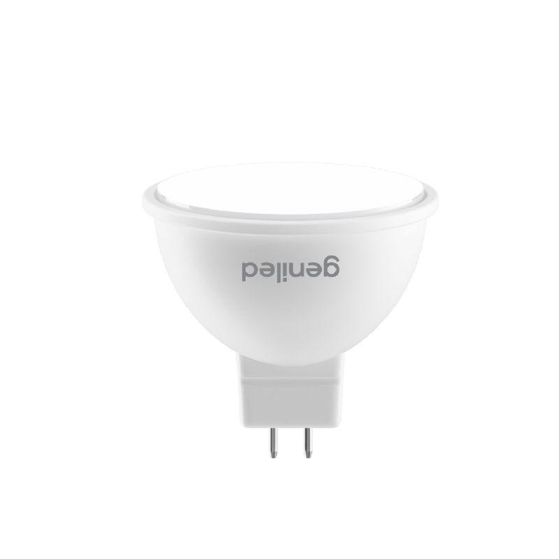 Лампа светодиодная 6Вт GU5.3 теплый свет Geniled<br>Гарантия: 2 года; Страна производитель: Китай; Бренд: Geniled; Назначение: Для точечных светильников; Типоразмер цоколя: GU5.3; Длина: 46 мм; Диаметр: 48 мм; Форма лампы: Параболический рефлектор; Цвет лампы: Белая; Цвет свечения: Теплый; Номинальное напряжение: 180-240 В; Потребляемая мощность: 6 Вт; Световой поток: 540 Лм; Цветовая температура: 2700 К; Светорегулирование: Недиммируемая; Срок службы: 40000 ч; Температура эксплуатации: От -20°С до +40°С;