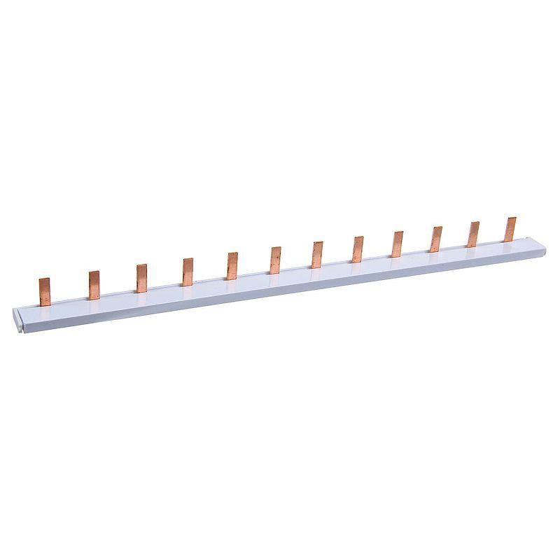 Шина соединительная 1-фазная 12 мод. тип PIN штырь до 63А TDM<br>Страна производитель: Китай; Бренд: TDM; Тип: Однофазная; Количество полюсов: 1; Назначение: Для электрощитового оборудования и проводки; Количество модулей: 12; Тип контактов: Штыревой; Номинальный ток: 63 А; Номинальное напряжение: 220 В; Материал шины: Латунь; Длина: 222 мм; Ширина: 20 мм; Высота: 10 мм;