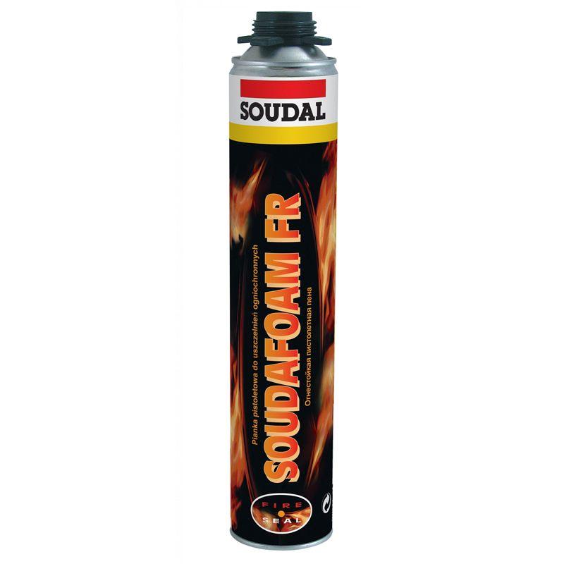 Пена монтажная огнеупорная Soudal Soudafoam профессиональная, 750 мл<br>Бренд: Sоudal; Название: Соудафоам 1k gun fr; Объем: 750 мл; Особые свойства: Огнеупорность; Сезон: Летняя; Тип: Профессиональная; Назначение: Заделываение стыков,швов, трещин; Область применения: Для противопожарных дверей; Способ нанесения: Пистолет; Температура нанесения: От +5 до +30 °С; Температура эксплуатации: От -40 до +90 °С; Выход пены: 26-33 л; Плотность: 25 кг/м?; Теплопроводность отвердевшей пены: 0,033 Вт/м·К; Срок годности: 9 мес; Класс пожароопасности: Ei30-ei120; Температура воспламенения: +400 °C; Морозостойкость: F 5;