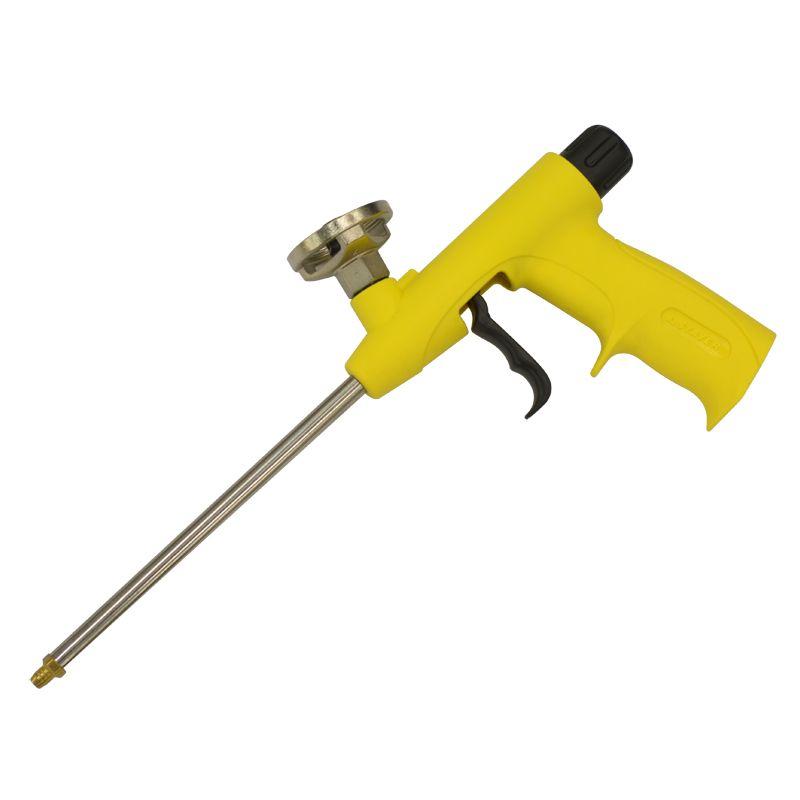 Пистолет для пены (высокопрочный легкий корпус)Пистолет для монтажной пены STAYER (высокопрочный легкий корпус)<br><br>Инструмент для работы с монтажной пеной, предназначен для профессионального использования.<br><br>НАЗНАЧЕНИЕ:<br><br>Качественное и удобное нанесение монтажной пены при выполнении строительных, монтажных и отделочных работ.<br><br>ПРЕИМУЩЕСТВА:<br><br>Легкий корпус из высокопрочного пластика обеспечивает комфорт при выполнении работ и гарантирует продолжительный срок службы инструмента;<br>Возможность регулировки напора подачи пены с помощью специального винта (точность и аккуратность нанесения пены);<br>Эргономичная рукоятка;<br>Универсальный адаптер позволяет использовать баллоны любой марки;<br>Высокий уровень герметичности благодаря уплотнительному кольцу в сопле;<br>Существенно снижает расход монтажной пены;<br>Возможность использования при низких температурах.<br><br>РЕКОМЕНДАЦИИ:<br><br>Рекомендации по работе:<br><br>До начала работ необходимо встряхнуть баллон;<br>Обрабатываемую поверхность рекомендуется смочить водой, для быстрого набухания пены и получения однородного состава;<br>Закладку пены в швы производите снизу вверх, делая зигзагообразные движения;<br>В процессе работы периодически встряхивайте баллон;<br>При необходимости замены баллона, нужно нажатием курка удалить оставшуюся пену из ствола, перевернуть пистолет рукояткой вверх, выкрутить пустой баллон, очистить место крепления специальной жидкостью и произвести установку нового баллона.<br><br>Рекомендации по хранению:<br><br>При завершении работы, закрутите винт регулировки до упора;<br>Баллон с оставшейся в нем пеной рекомендуется хранить, не снимая с пистолета, это позволит избежать засыхания пены (хранение возможно не более одного месяца);<br>Если баллон пуст и нет необходимости в его замене, нужно произвести тщательную очистку пистолета специальной жидкостью или установить баллон с очистителем.<br>Материал рукояти: Пластик; Материал корпуса: Пластик; Страна производитель: Ки
