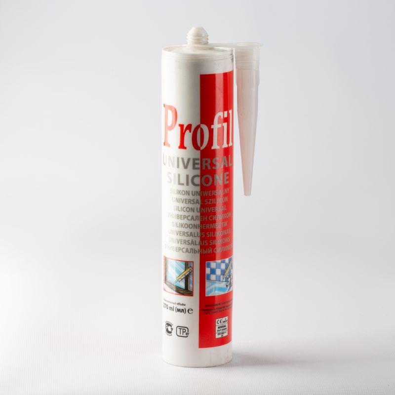 Герметик силиконовый Profil универсальный (бесцветный), 280 млГерметик Profil силиконовый универсальный (б/цв.), 280 мл<br><br>Однокомпонентный силиконовый герметик для уплотнения и герметизации швов.<br><br>НАЗНАЧЕНИЕ:<br><br>Для внутренних и наружных работ;<br><br>Работы по остеклению окон и балконов;<br><br>Работы в системах вентиляции и водостока;<br><br>Для заделывания швов во влажных помещениях;<br><br>Другие виды общестроительных работ.<br><br>ПРЕИМУЩЕСТВА:<br><br>Термостойкий (от -60?С до +180?С);<br><br>Совместим с различными материалами (дерево, стекло, бетон, керамика, пластик, кирпич и т.д.);<br><br>Устойчив к атмосферным осадкам и УФ излучениям (содержит фунгициды);<br><br>Легкое нанесение (полисилоксановая основа, консистенция пасты);<br><br>Эластичный после отвердевания;<br><br>Устойчив к грибкам и плесени;<br><br>Диапазон ширины заполнения шва от 5мм до 30мм, глубина 5мм;<br><br>Нанесение при помощи монтажного пистолета при температуре воздуха от +1?С до +40?С;<br><br>Отверждение кислотное, 2мм в сутки при относительной влажности не менее 65% (пленка на поверхности образуется через 7минут);<br><br>Цвет на выбор: прозрачный, белый.<br><br>РЕКОМЕНДАЦИИ:<br><br>Не замораживать;<br><br>Очищать поверхность при помощи уайт-спирита;<br><br>При нанесении, использовать монтажный пистолет;<br><br>Работы проводить, находясь на устойчивом основании, в хорошо проветриваемом помещении (герметик имеет устойчивый уксусный запах);<br><br>Пользоваться перчатками, защитным комбинезоном, очками, респираторной маской и другими СИЗ;<br><br>Не выполнять работы в присутствии детей и животных.<br>Бренд: Profil; Объем: 280 мл; Цвет производителя: Бесцветный; Тип: Силиконовый; Область применения: Для окон и дверей; Область применения: Для ванных, душевых кабин; Температура нанесения: От +1 до +30 °С; Температура эксплуатации: От -60 до +180 °С; Тип работ: Для наружных работ; Тип работ: Для внутренних работ; Компонент: Однокомпонентный; Тип поверхности: Стекло; Тип поверхности: