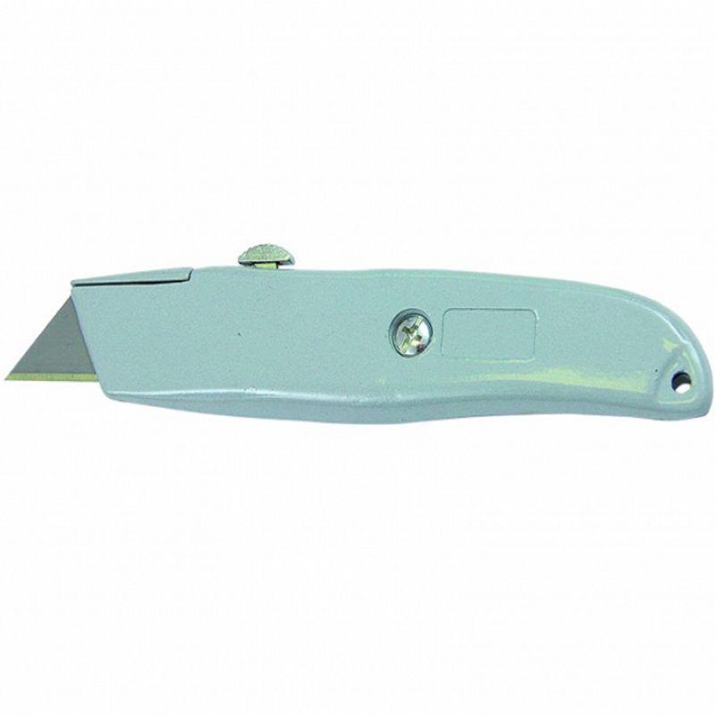Нож с трапециевидным лезвием, автостоп, Т4РНож с трапециевидным лезвием, автостоп, Т4Р<br><br>Универсальный нож с выдвижным трапециевидным лезвием шириной 19 мм с механическим фиксатором лезвия, оцинкованным корпусом с отверстием для подвешивания, для использования в строительных работах (резка обоев, картона, пластика, линолеума, ковролина и пр.) с применением значительных усилий.<br><br>НАЗНАЧЕНИЕ:<br><br>Использование при ремонте помещений, квартир, домов (например, разрезание обоев, подравнивание и подрезка краев обоев, разрезание линолеума и ковролина) с применение значительных усилий.<br><br>ПРЕИМУЩЕСТВА:<br><br>Многофункциональность;<br><br>Высокая жесткость лезвия: возможность разрезать плотные материалы с применением значительных усилий (гипсокартон, линолеум, ковролин и пр.);<br><br>Возможность резать как прямые, так и ломанные линии;<br><br>Ровная линия реза;<br><br>Механизм фиксации лезвия позволяет быстро и надежно зафиксировать лезвие в рабочем положении;<br><br>Оцинкованный прочный корпус не подвержен образованию ржавчины;<br><br>Эргономичная ручка обеспечивает надежный захват и прочное удержание, что необходимо для неутомительных продолжительных работ;<br><br>Длительный срок службы: лезвия из прочной стали;<br><br>Отверстие в ручке для удобного хранения.<br><br>РЕКОМЕНДАЦИИ:<br><br>При работе по резанию бумаги и картона выдвигайте лезвие на 1-1,5 см;<br><br>При резании нажимайте на нож равномерно и режьте аккуратно, не торопясь. Левую руку убирайте от места разреза;<br><br>Не работайте с ножом в направлении к своему телу;<br><br>При работе пользуйтесь линейкой и работайте только на подкладной доске;<br><br>Окончив работу, лезвие спрячьте в ручку;<br><br>Храните нож с убранным в ручку лезвием.<br>Сменные лезвия: Трапецевидные; Бренд: T4P; Назначение: Строительный; Комплектация: Нож; Материал лезвия: Сталь; Материал рукояти: Пластик; Особенности: Выдвижное лезвие; Ширина лезвия: 19 мм; Фиксатор: Сегментированное лезвие;